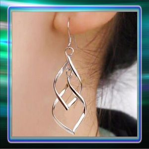 Silver Hoop Dangly Earrings